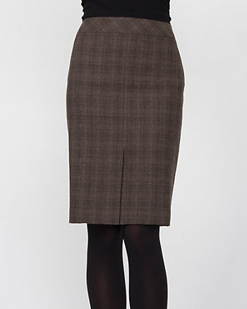 Italian Wool Blend Check Flared Skirt