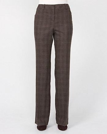 Glen Check Wool Blend Wide Leg Pant