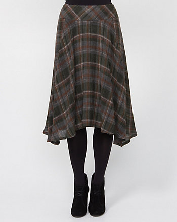Wool Blend Check A-line Skirt