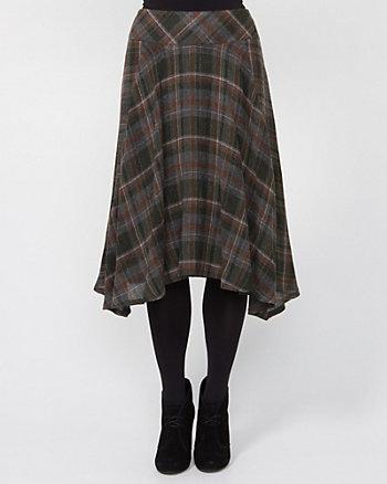 Wool Blend Check A-line Skirt