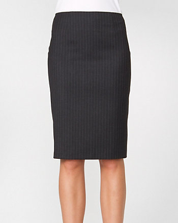 Stripe Wool Blend Pencil Skirt