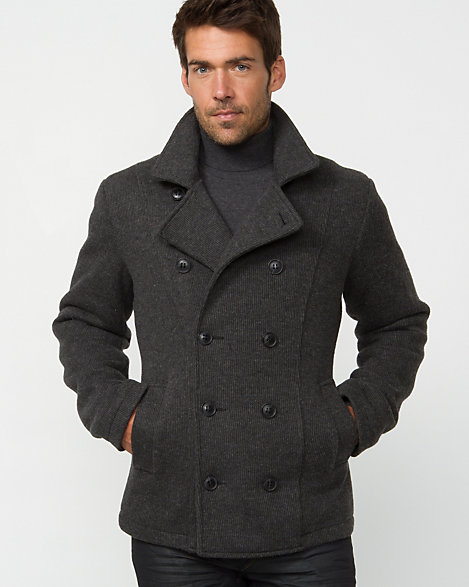 LE CHÂTEAU: Wool Blend Double Breasted Pea Coat