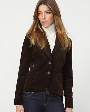 Corduroy Notch Collar Blazer