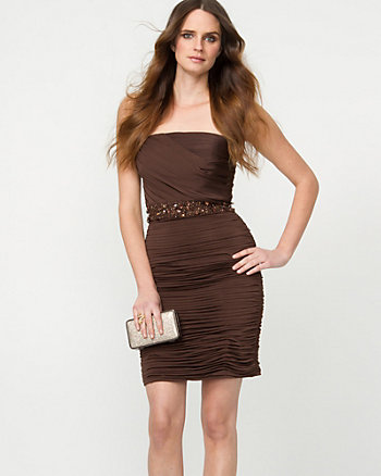 Matte Jersey Ruched Cocktail Dress