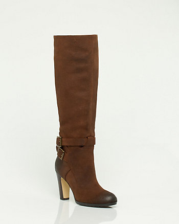 Leather Knee High Buckle Boot