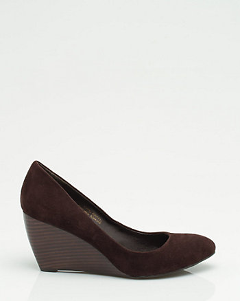 Suede Wedge Almond Toe Pump