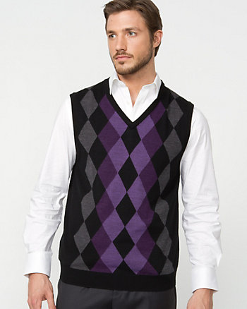 Wool Blend Argyle Sweater Vest
