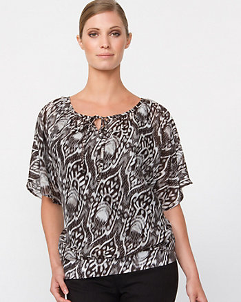 Cotton Silk Geo Print Peasant Blouse