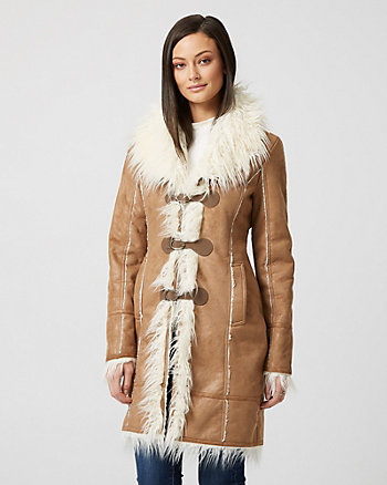 Faux Fur Trim Suede-like Sherpa Coat