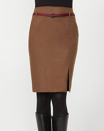 Wool Blend Belted Pencil Skirt