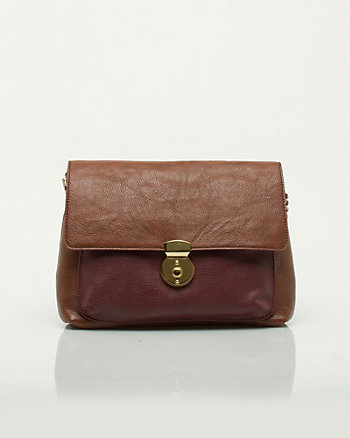 Leather-Like Shoulder Flapover Bag