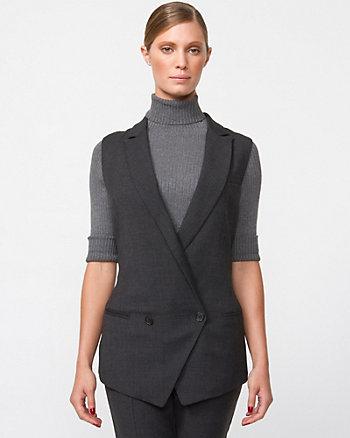 Check Wool Blend Notch Collar Vest