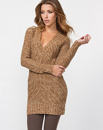 Allover Tweed V-Neck Sweater
