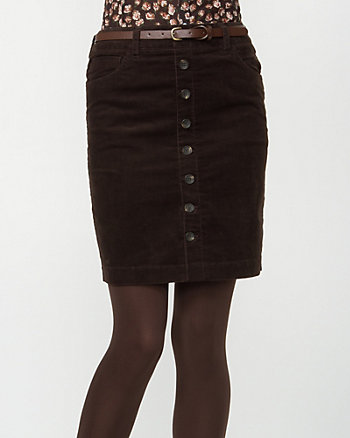 Corduroy Belted Pencil Skirt