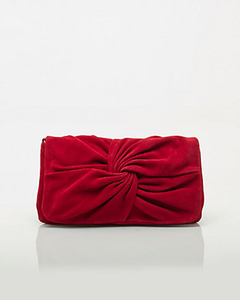 Suede Knot Clutch