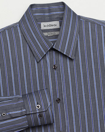 Stripe Cotton Tailored Fit Dress Shirt