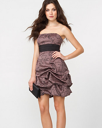 Chiffon Party Dress with Flower Flocking