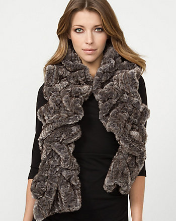Ruched Faux Fur Scarf