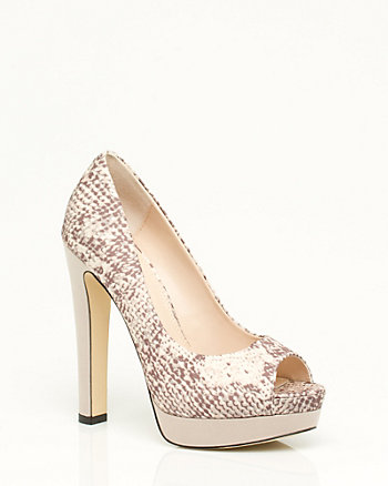 Printed Satin Peep Toe Pump