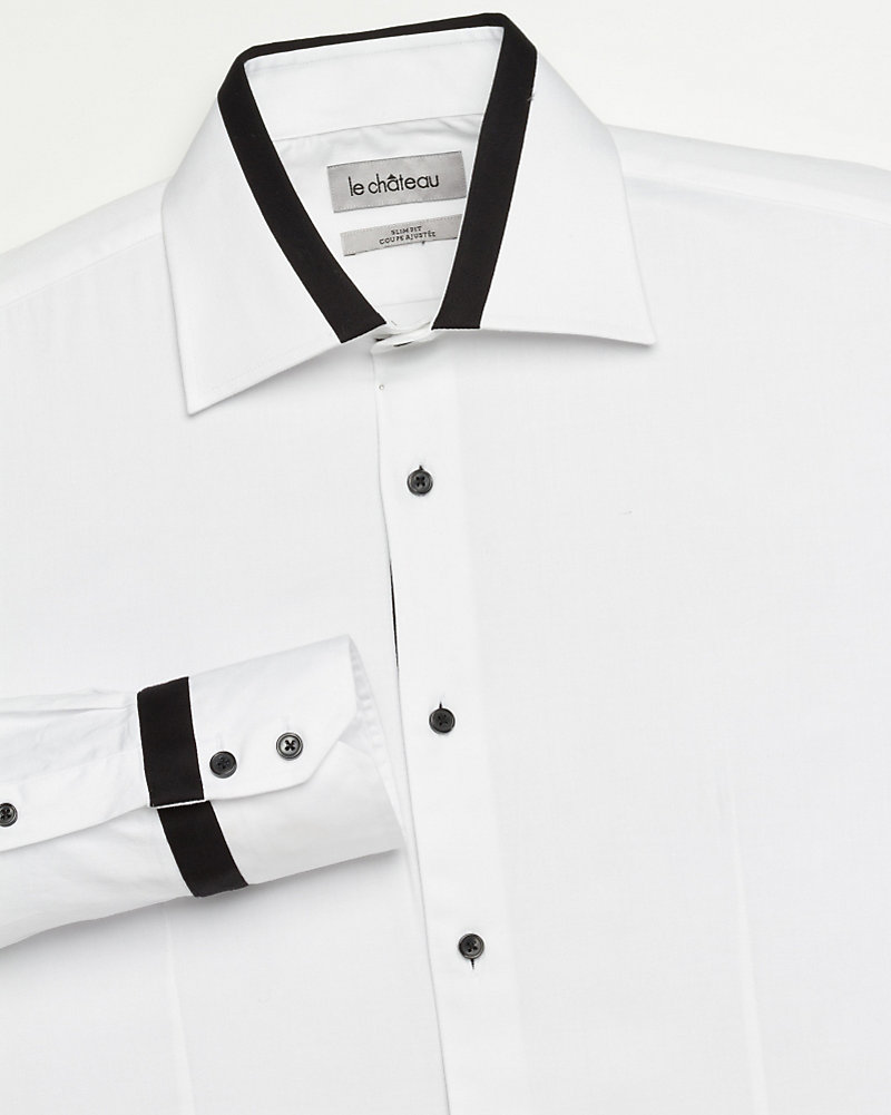 89cefecc45 LE CHÂTEAU: Poplin Slim Fit Tuxedo Shirt