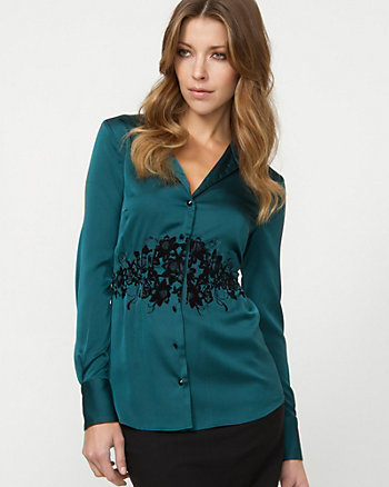 Flocked Satin Blouse
