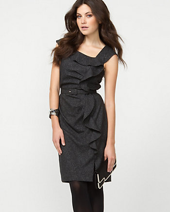 Tweed Ruffle Belted Shift Dress