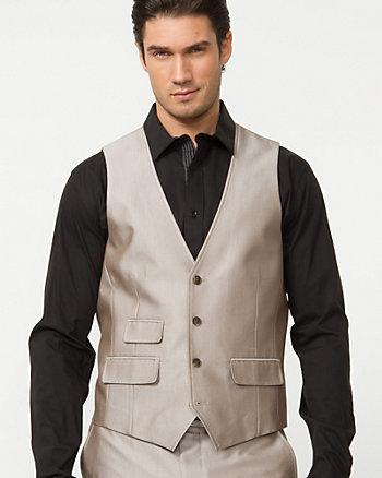 Tonal Herringbone Contemporary Fit Vest