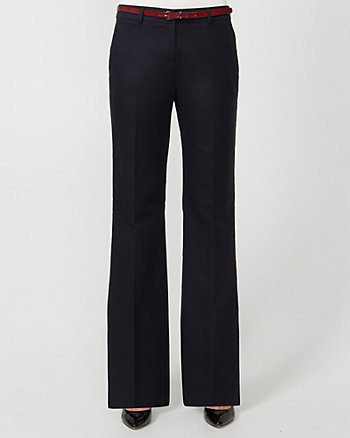 Cotton Belted Flare Leg Pant