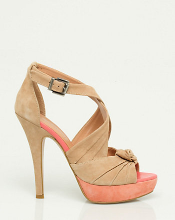 Italian Made Suede Colour Block Strappy Sandal
