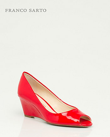 Patent Peep Toe Wedge
