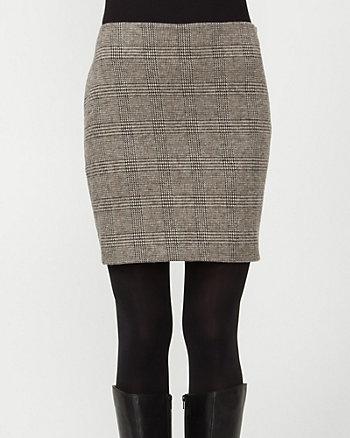 Ponte Check Straight Skirt