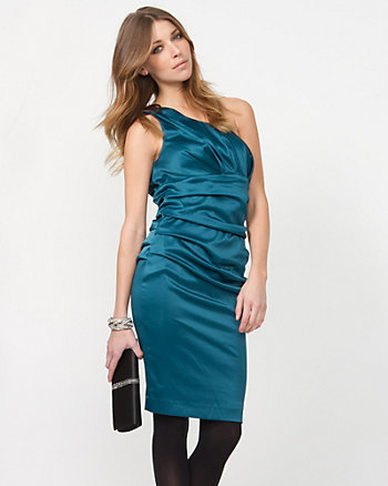 One Shoulder Stretch Satin Cocktail Dress