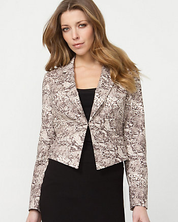 Double Weave Snake Print Fitted Blazer