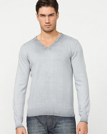 Italian Made Dip Dye Cotton V-Neck Sweater
