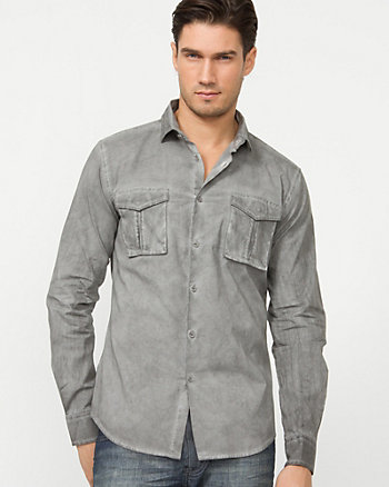 Italian Made Cotton Blend Slim Fit Shirt