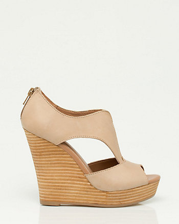 Leather Cutout Wedge Sandal
