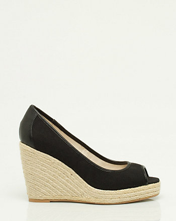 Canvas Peep Toe Pump