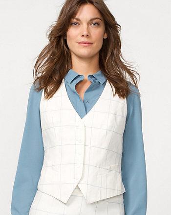 Linen Blend Check Vest