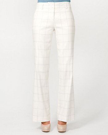Linen Blend Check Flare Leg Pant