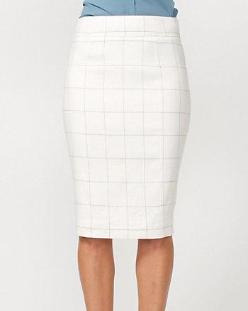 Check Print Linen Blend Pencil Skirt