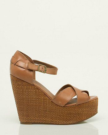 Leather Strappy Wedge Sandal