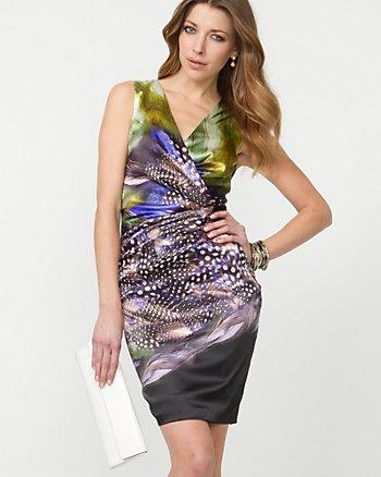 Abstract Print Satin Wrap Dress