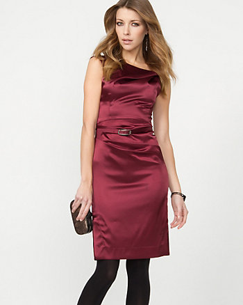 Satin Belted Shift Dress