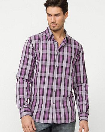 Cotton Poplin Check Dress Shirt