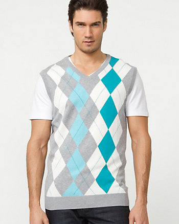 Silk Blend Argyle Sweater Vest