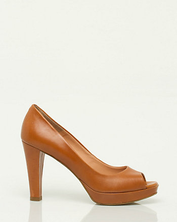 Leather Peep Toe Pump