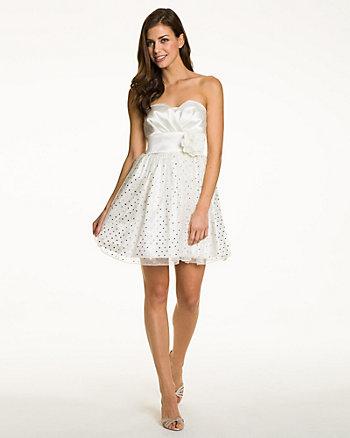 Foil Mesh Fit & Flare Dress
