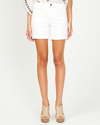 Stretch Denim Cuffed Shorts