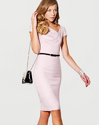 Wool Blend Belted Shift Dress