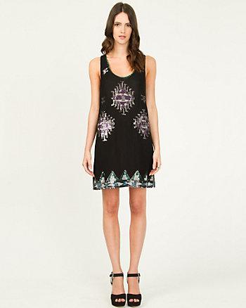 Silk Chiffon Embellished Mini Dress